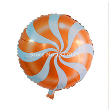 "Candy Balloons Orange Lollipops Swirl Wedding inflatable Foil Ball Birthday Balloons Party Decoration 18"" Ballon baloes Mariage(China)"