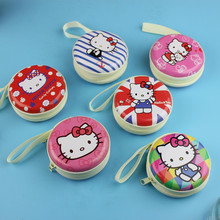 hello kitty Earphone Wire Organizer Box Data Line Cables Storage Box Case Container Organizer Coin Box Tin plate Zipper Package