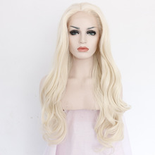 Synthetic Blonde Lace Front Wig Laco Dianteira Penruca Natural Long Body wave Wigs Glueless Heat Resistant Fiber Women Wavy Hair