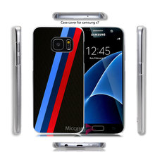 Azure Blue Red For BMW M Stripe Hard Transparent Clear Case Cover for Samsung Galaxy S7 S6 Edge Plus