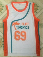 "2017 New Throwback Basketball Jerseys Downtown 69 ""Funky Stuff"" Malone Flint Tropics Semi Pro Team Movie Basketball Jersey-White(China)"