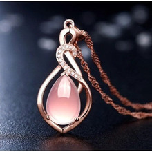 Fashion Bridal Jewelry Rose Gold Color Tear Drop Pink Crystal Necklace & Pendant 925 Silver Chain Necklaces for Women(China)