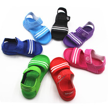 Summer Boys Girls sandals Soft leather 2017 Kids Casual shoes Slip-resistant Stripe PU Toddler Little girl sandals 8 Colors
