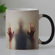 Drop shipping both sides Zombie Color Changing mug Tea cup Heat sensitive Magic Coffee mugs(China)