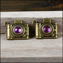 Wholesale 23 pcs Vintage Charms Purple Camera Pendant Antique bronze Fit Bracelets Necklace DIY Metal Jewelry Making