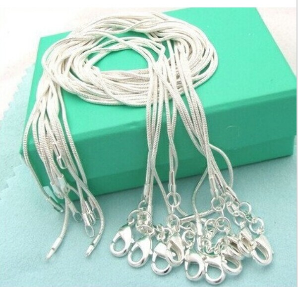 "10pcs/lot Promotion! wholesale 925 sterling silver necklace, silver fashion jewelry Snake Chain 1mm Necklace 16 18 20 22 24""(China)"