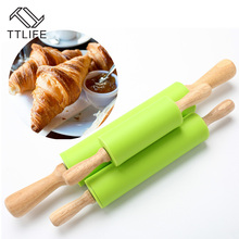TTLIFE 3 Sizes Green Silicone Rolling Pins Dough Pastry Roller Wooden Handle Silicone Rolling Pin Baking Tools