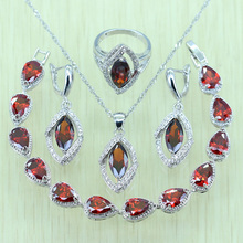 925 Stsmp Red Rhinestone White Zircon Silver color  Jewelry Set For Women Bracelet/Necklace/Earrings/Ring/Pendents