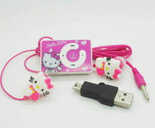 50pcs/lot Hello Kitty MP3 Music Player Support Micro TF Card+hello Kitty Earphone+Mini USB