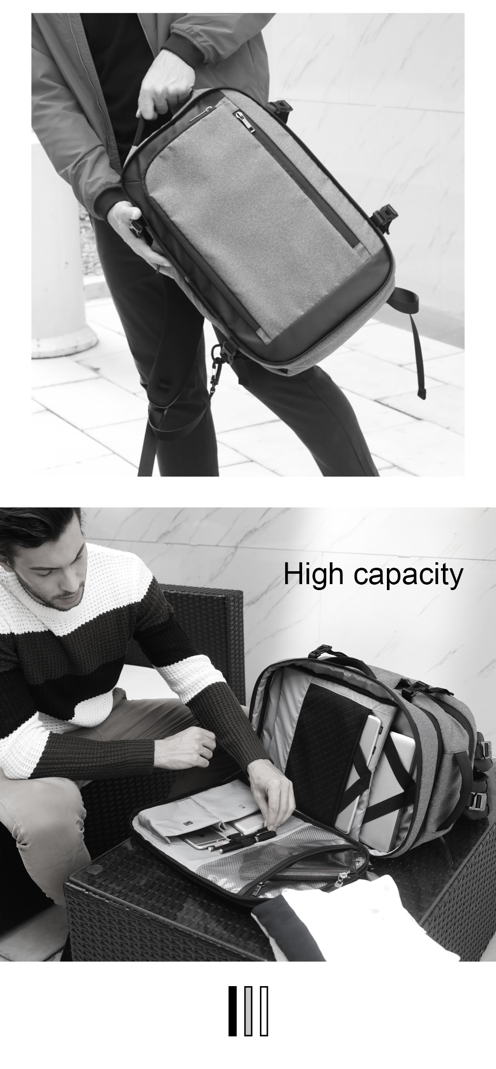 Brand Disassemble Men's Backpack Multifunction Business Casual Backpacks 17 Inch Laptop Backpacks Large Capacity City Travel Bag