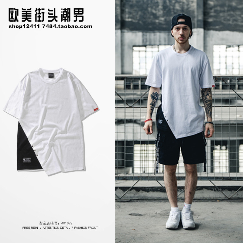 2019 Spring and summer Europe and America high street trend short sleeved T-shirt male hem slash loose T-shirt