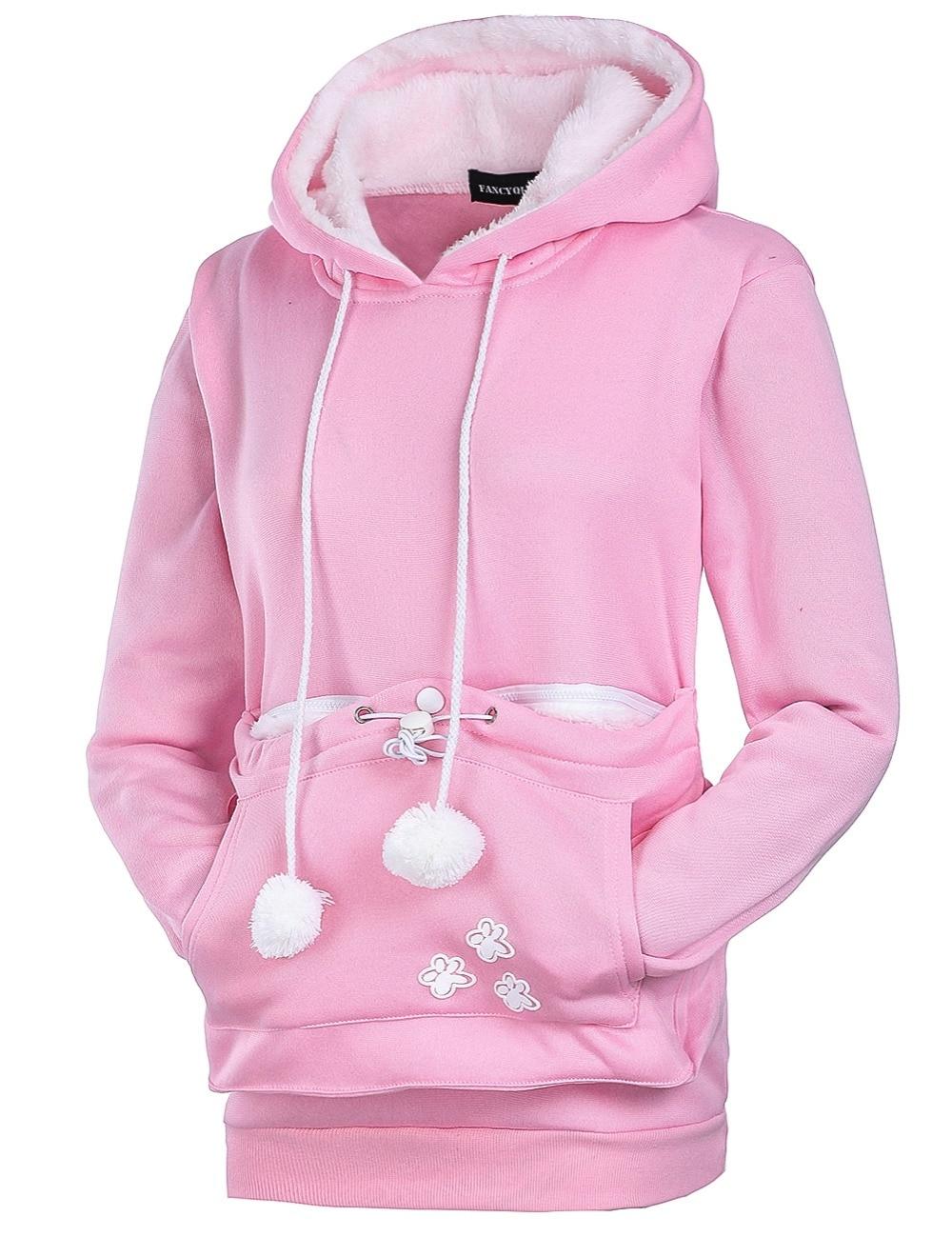 17 New Cartoon Hooded Hoodies Lover Cats Kangaroo Dog Hoodie Long Sleeve Sweatshirt Front Pocket Casual Animal Ear Hoodie 3