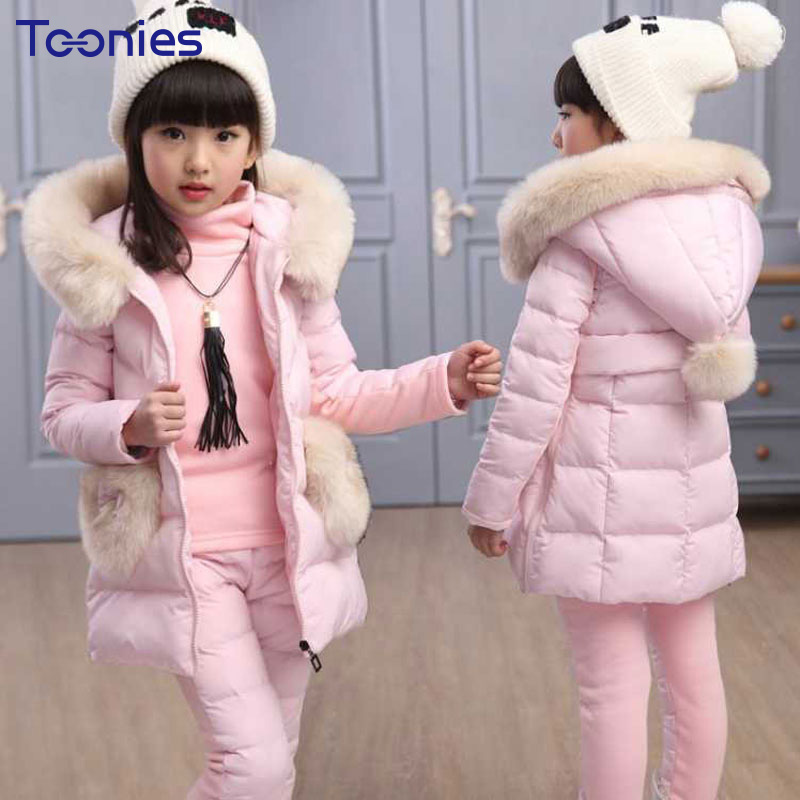 Girls Pants Suits 2018 Newest Design Winter Girl Sportswear Thick Cotton Child Suit Warm Cashmere Costumes Hooded Clothing Sets<br>