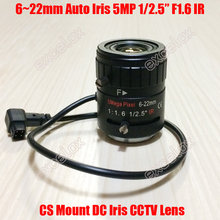 "5MP 1/2.5"" 6-22mm F1.6 IR Manual Varifocal DC Auto Iris CCTV Lens CS Mount for 1080P 2MP 3MP 4MP 5 Megapixel HD Analog IP Camera(China)"