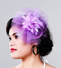 Free shipping Women Fancy Feather Fascinator Hat purple Wedding Hats and Fascinators White Net Hair Accessories for Bridal Woman