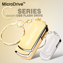 Silver/Gold Pendrive Metal Key Chain USB Flash Drive 64GB 32GB 16GB 8GB Pen Drive High Speed USB Stick Real Capacity USB Flash(China)