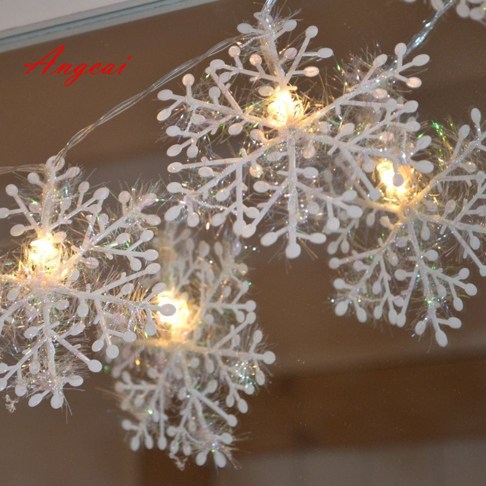 snowflake design Wedding Xmas Party Decor Outdoor Fairy String Light Lamp Warm White, USB or Battery powered(China)
