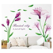 Beautiful Lovely Lily Flowers Wall Removable DIY art Decor Wall Stickers Murals for Living room Background Kids rooms Bedroom(China)