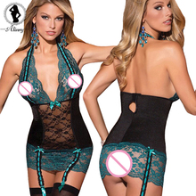 2017 sexy lingerie hot green+black bow lace perspective babydoll sexy chemise deep-V backless package hip sexy underwear