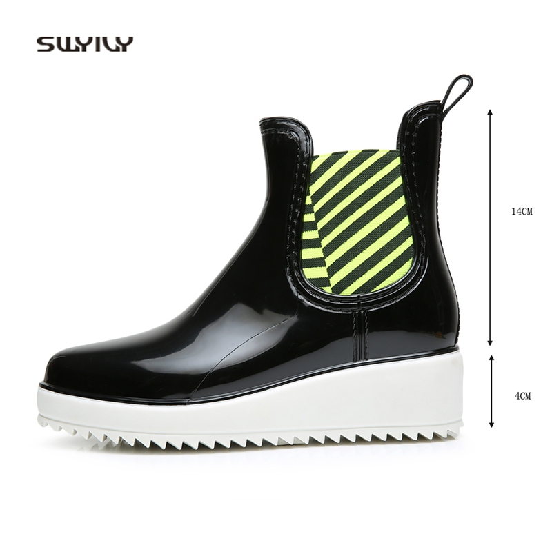 SWYIVY Ankle Boots Woman Waterproof 2018 Autumn Winter Female Rubber Rainboots Platform Woman Fashion Tube Water Ankle Boots
