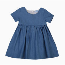 2017 New Denim Dress Baby Girls Summer Solid Blue Back Button Infant Bebes Princess Party Dresses Sundress Clothes 0-24M(China)