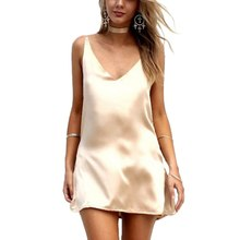 Buy Women Sexy V Neck Satin Slip Summer Dress Sleeveless Mini Halter Evening Bodycon Club Wear Female Party Dresses