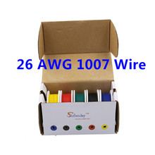 50m UL 1007 26AWG 5 color Mix box 1 box 2 package Electrical Wire Cable Line Airline Copper PCB Wire(China)