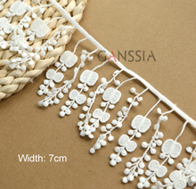 2yrd/lot Width:7cm Lovely flower desgin tassel lace Water soluble polyester lace sewing Garment embellishment (ss-6793)(China)