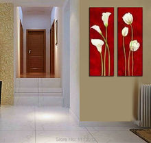 100% Hand Painted 2 Piece Set Decoration Narcissus Floewr Oil Painting On Canvas Modern Home Wall Picture Wall For Living Room