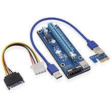 VER006 30CM PCIE PCI Express Riser Card 1X to 16X Extension Cable + USB 3.0 Cable / SATA to IDE Power Cord for BTC Bitcoin Miner