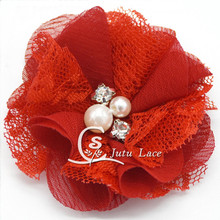 2.5 inch pearl center chiffon flower 50pcs/lot hair accessory decorative headbands craft flowers-lace flower
