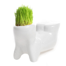 Flower Pot 4 Post cozy Little Hobbit Shaped DIY Mini Novel Bonsai Grass Doll Hair White Lazy Man Plant Garden Z07 DropShipping(China)