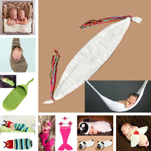 Crochet White Hammock Baby Photography Props Boy Girl Knitted Photo Props Newborn Bebe Foto Props 1set MZS-14028