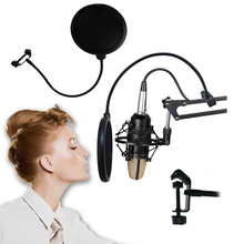 Mini Professional Microphone Recording Koraoke Mic Wind Screen Pop Filter Microphone For Singing Video Cover Mask Shield Studio(China)