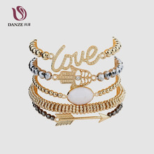 DANZE 5 Pcs/pack Gold Color Palm Love Letter Arrow Round White Opal Beads Bracelet Sets Women Fashion Accesories Gift Jewelry(China)