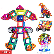 158Pcs Magnetic Building Blocks 3D Magnetic Designer Building Kits Magnetic Construction Models Educational Toys For Kids Gift(China)
