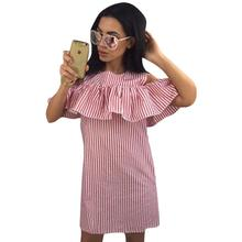 Striped Mini Dress Sexy Off Shoulder Dresses Ruffles Pencil Casual Dress Cocktail Party Dress Sleeveless Beach Clothes Wear 2017