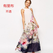 Spring And Summer European Ebay New Pattern Halter Long Fund Number Printing Shivering Dress