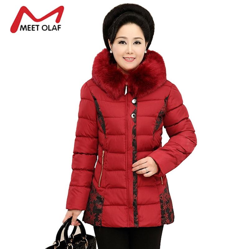 2017 Winter Coat Women Winter Jackets Middle Aged Female Fur Hood Cotton Parka Mothers Gift Plus Size 5XL Casacos Inverno Y1560Îäåæäà è àêñåññóàðû<br><br>