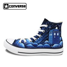 Blue Galaxy Space Police Box Converse All Star Men Women Shoes Custom Design Hand Painted Canvas Sneakers Christmas Gifts