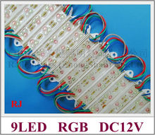 RGB LED module 9led 3R+3G+3B waterproof RGB LED sign module light LED advertising module IP65 DC12V 0.72W 9 led free shipping