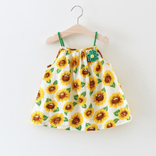 1-4Y 2017 Summer Baby girls sea beach princess holiday dresses Hawaii Flower floral toddler girls strap sundress Corsage