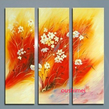 Hand Painted 3 Panels Landscape Wall Painting Natural Scenery For Room Decorative Picture Red Flower Group Paintings On Canvas