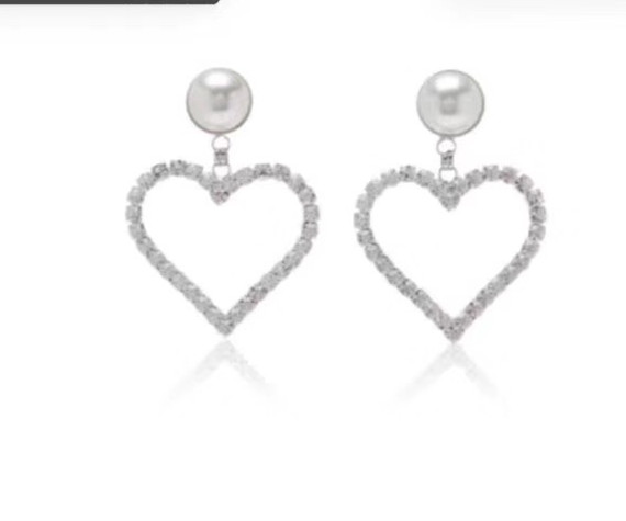 ZOZIRI love hearts heart-shaped earrings with pearl bling crystal big size  Exaggerated earrings popular summer decoration