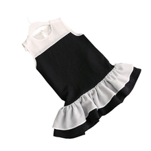Hot Sale Girls Chiffon Dress Kids Girl Black White Patchwork Dresses Summer Child Party Dress Teenage Costumes Toddler Sundress