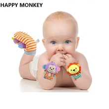 Happy Monkey 2pcs/pair Animal Baby Socks Baby Rattle Toys Bed Bells For Newborn Infant Brinquedos Do Bebe KF052(China)