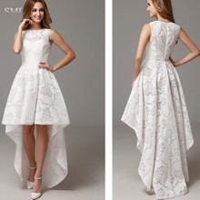 SML Simple White High Low High Neck Sleeveless Lace Girls Cocktail Dresses Short Prom Party Dresses vestidos de fiesta