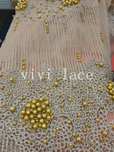 5yards QJ009 gold beads embroidery rhinestone mesh tulle lace african fabric for wedding dress/evening dress ,ship by dhl