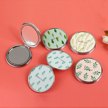 CN-RUBR Double-sided Kawaii Mirror PU Leather Folding Pocket Compact Hand Makeup Mirror Mini Plant Portable Cosmetic Beauty Tool