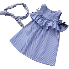 Girls Stripes Dress Off Shoulder Bow Dress Summer Sweet Casual Holiday Dresses Western Cute Baby Clothing